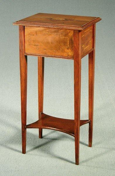 3: Inlaid mahogany sewing stand,