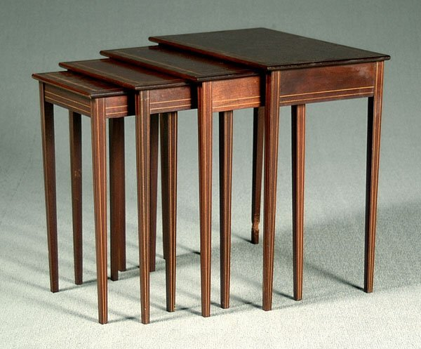 6: Nest of four inlaid mahogany tables,