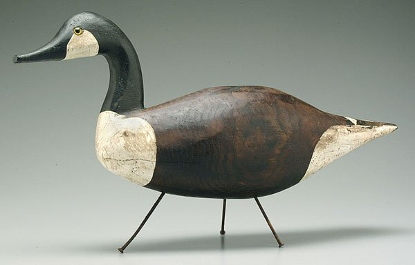 13: Carved and painted wooden goose,