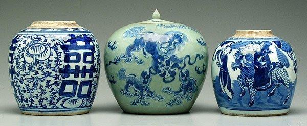 16: Three Oriental porcelain ginger jars: