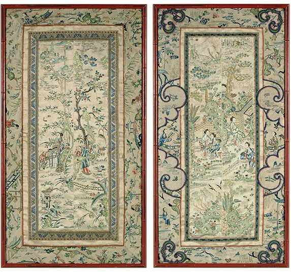 19: Pair embroidered Chinese panels,