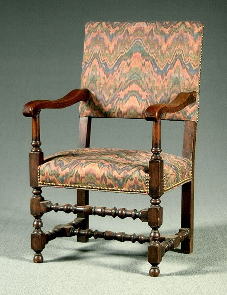608: William and Mary style oak armchair,