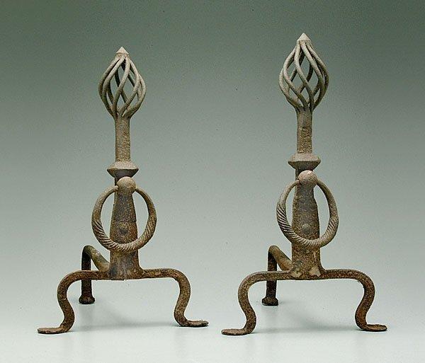 622: Pair iron andirons,