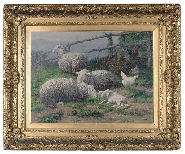 766: Farmyard scene by Theodore Van Sluys