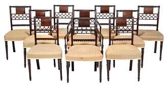 Fine Set of Ten Sheraton Mahogany Dining Chairs
