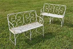 Pair of Vintage French Garden Settees