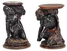 Two Similar Venetian Blackamoor Pedestals