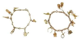 Two 14kt Charm Bracelets