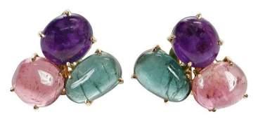 14kt Gemstone Earclips