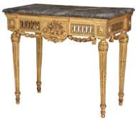 Italian Neoclassical Marble Top Console Table