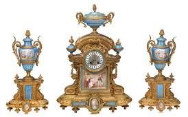 French Japy Freres Clock Garniture Set