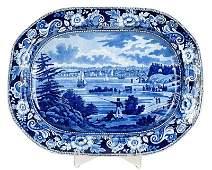 Historical Blue Staffordshire Platter, New York