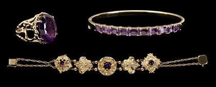 213: Amethysts bracelets, ring,