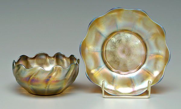 568: Tiffany bowl and under plate: