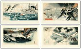 716: Four Japanese woodblock triptychs,