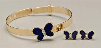 930: Lapis Lazuli, bracelet, earrings,