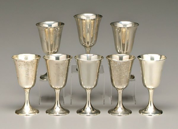 939: Eight sterling goblets: