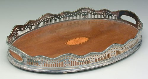 601: Oval silver-plated galleried footed tray