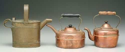 """602: Two copper teapots, 8-1/2"""" and 9-1/4"""", w"""