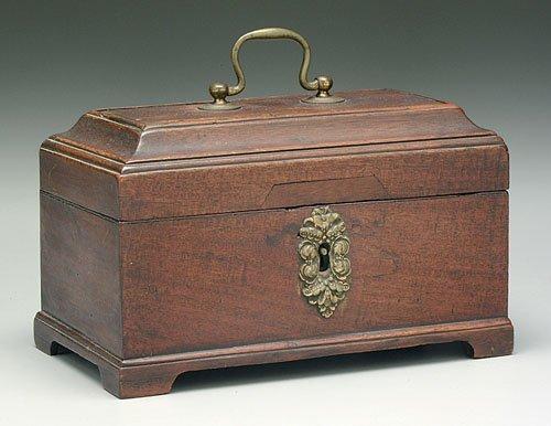 604: English Regency lidded tea box, mahogany