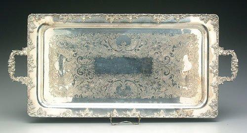 605: Silver-plated tray, grape and vine borde