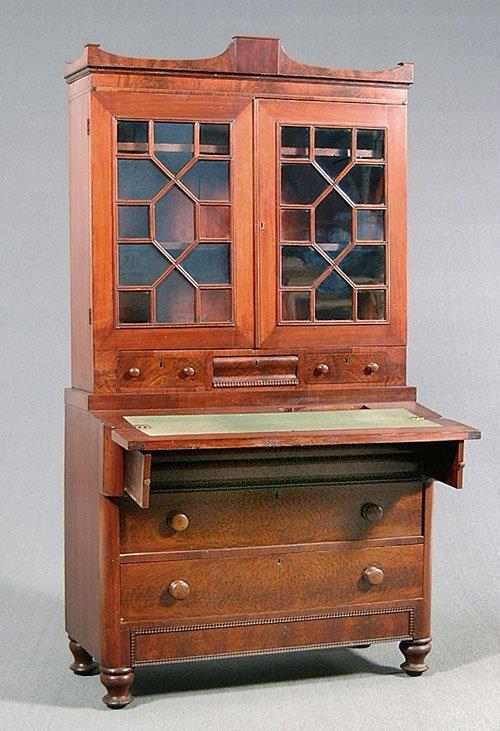 607: Two-piece secretary-bookcase, American E