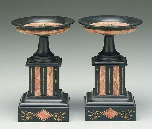 608: Pair polished slate tazza, inlaid marble
