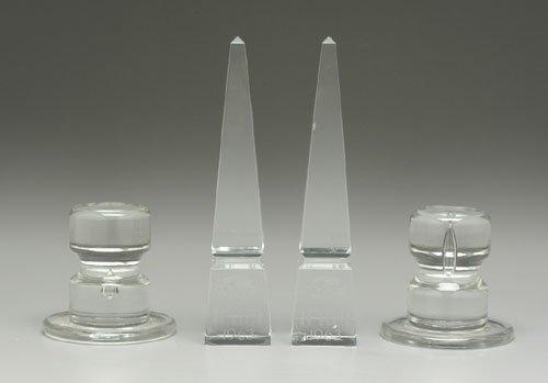 610: Pair Baccarat presentation obelisks, one