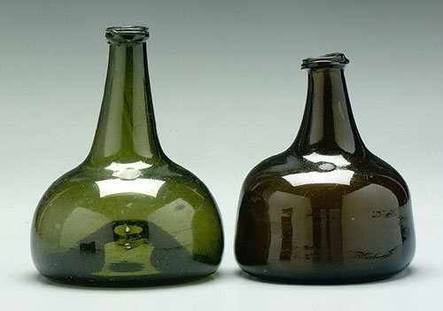 612: Two glass wine or spirits bottles: dark