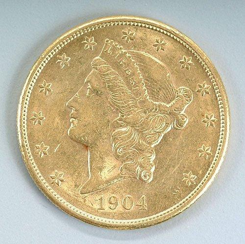 615: U.S. $20 gold piece, 1904-S, AU-55, mode