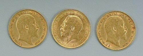 616: Three British gold half sovereigns, 1905