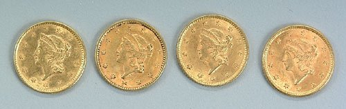 617: Four U.S. gold coins: $1 gold, Type 1, 1