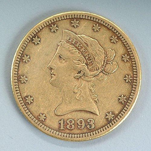 618: U.S. $10 gold piece, 1893-CC EF-40, low