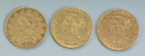 619: Three U.S. $10 gold pieces, 1894-O EF-40