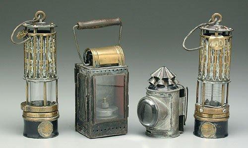 623: Pair brass miner's lamps, seal for Depar