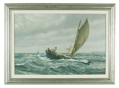 730: Oil on canvas seascape, two men in saili
