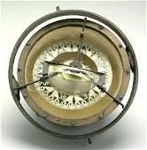 829: Gimballed ship's compass, brass frame, c