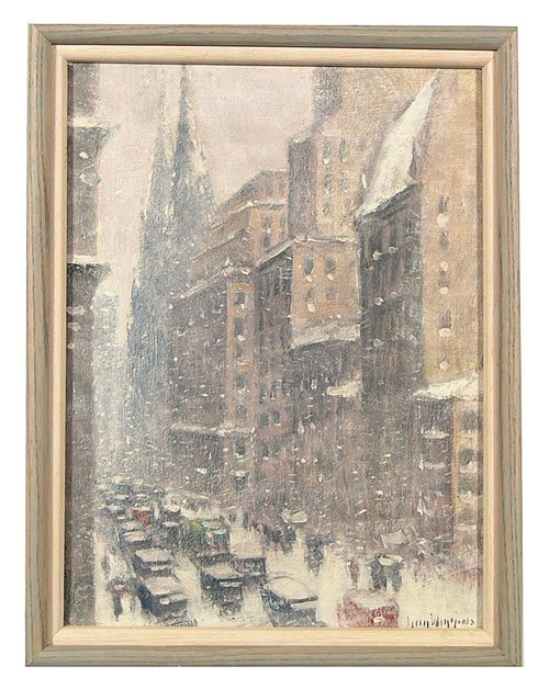 """896: Oil on canvas, titled verso """"5th Avenue"""