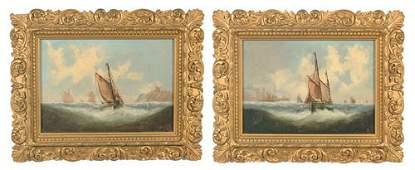 1113: Pair oil on canvas coastal scenes with