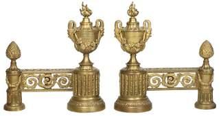 Pair Louis XVI Style Gilt Bronze Chenet