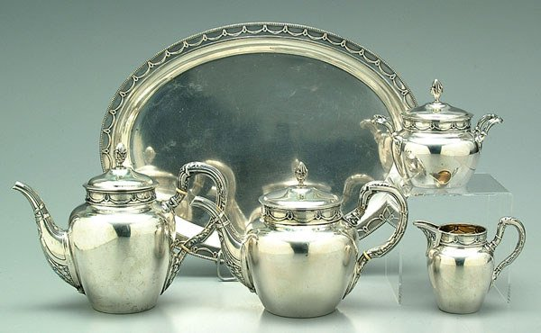 9: German tea service, .800 silver,