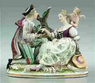 Porcelain figural group,