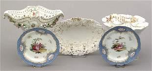 Five pieces hand-painted porcelain