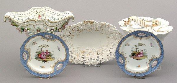 11: Five pieces hand-painted porcelain: