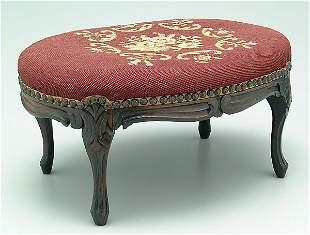 Regency-style needlepoint footstool,