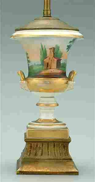 Hand-painted porcelain urn,