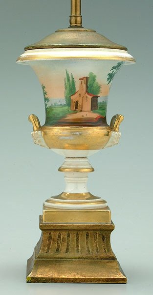 15: Hand-painted porcelain urn,