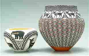 Two Acoma earthenware pots,