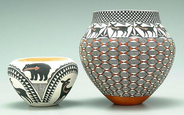17: Two Acoma earthenware pots,