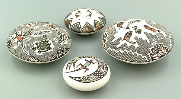 18: Four Acoma earthenware seed pots: